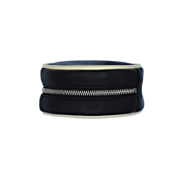 Schmuck-Etui Pacman 09 - Farbe schwarz - Bordüre ecru - Reissverschluss