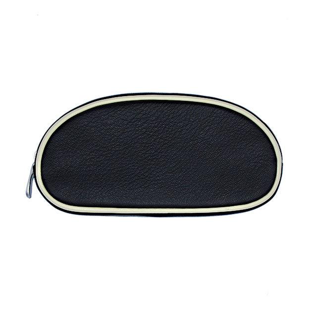 Schmink-Etui Kit 09 - Farbe schwarz - Bordüre ecru - Reissverschluss