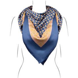 Seidentuch Königsblau - handrolliert - Öko-Tex - Kollektion Le Foulard