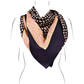 seidentuch nachtblau handrolliert Öko tex kollektion le foulard