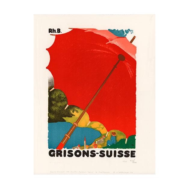 Lithografie - Grisons-Suisse - Design Maler Augusto Giacometti - Steinlithodruck