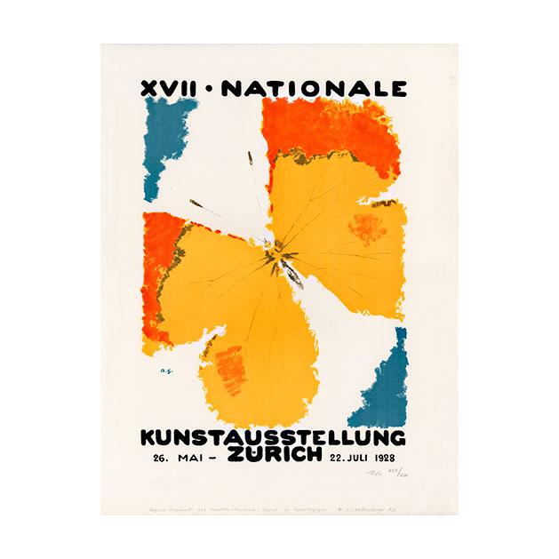 Lithografie - Kunstausstellung Zürich 1928 - Design Augusto Giacometti - Steinlithodruck
