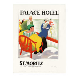 Lithografie - Palace Hotel St. Moritz - Design Emil Cardinaux - Steinlithodruck