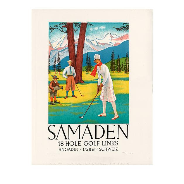Lithografie - Samaden Golf - Steinlithodruck - Kartonage