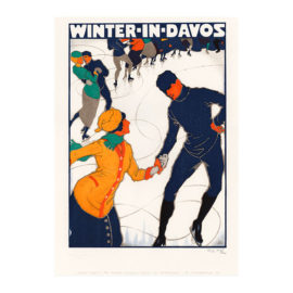 lithografie winter davos design burkhard mangold steinlithodruck