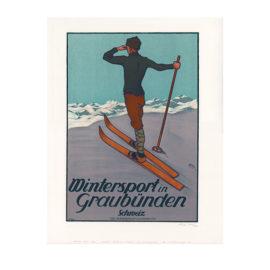 Lithografie - Wintersport Graubünden - Design Walter Koch - Steinlithodruck