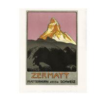 Lithografie - Zermatt Matterhorn - Design Emil Cardinaux - Steinlithodruck