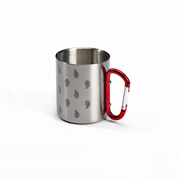 Mug Outdoor Tasse - Glarner Paisley-Motiv - Edelstahl - Karabinergriff