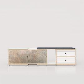 Sideboard 63 Birkenschichtholz - Xilobis - Schiebetüren Schiefer