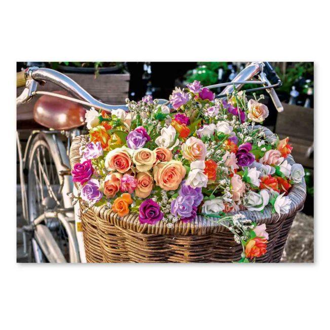 Blankokarte Velo mit Blumenkorb