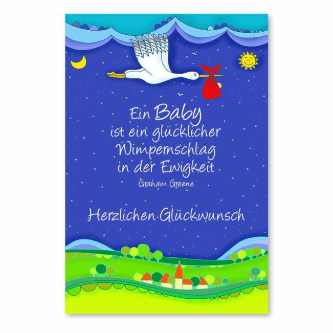 Babykarte Storch Glückwunsch