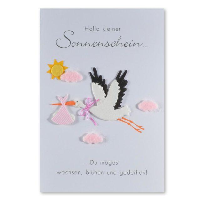 Babykarte Storch Mädchen