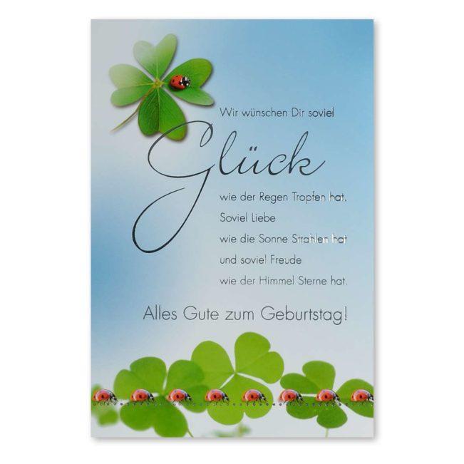 Geburtstagskarte Glückskäfer und Kleeblätter
