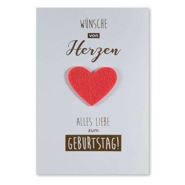 Geburtstagskarte Filzherz