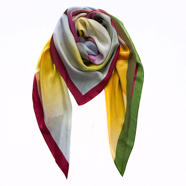 foulard frangipani gelb gruen rot weiss maxi souze