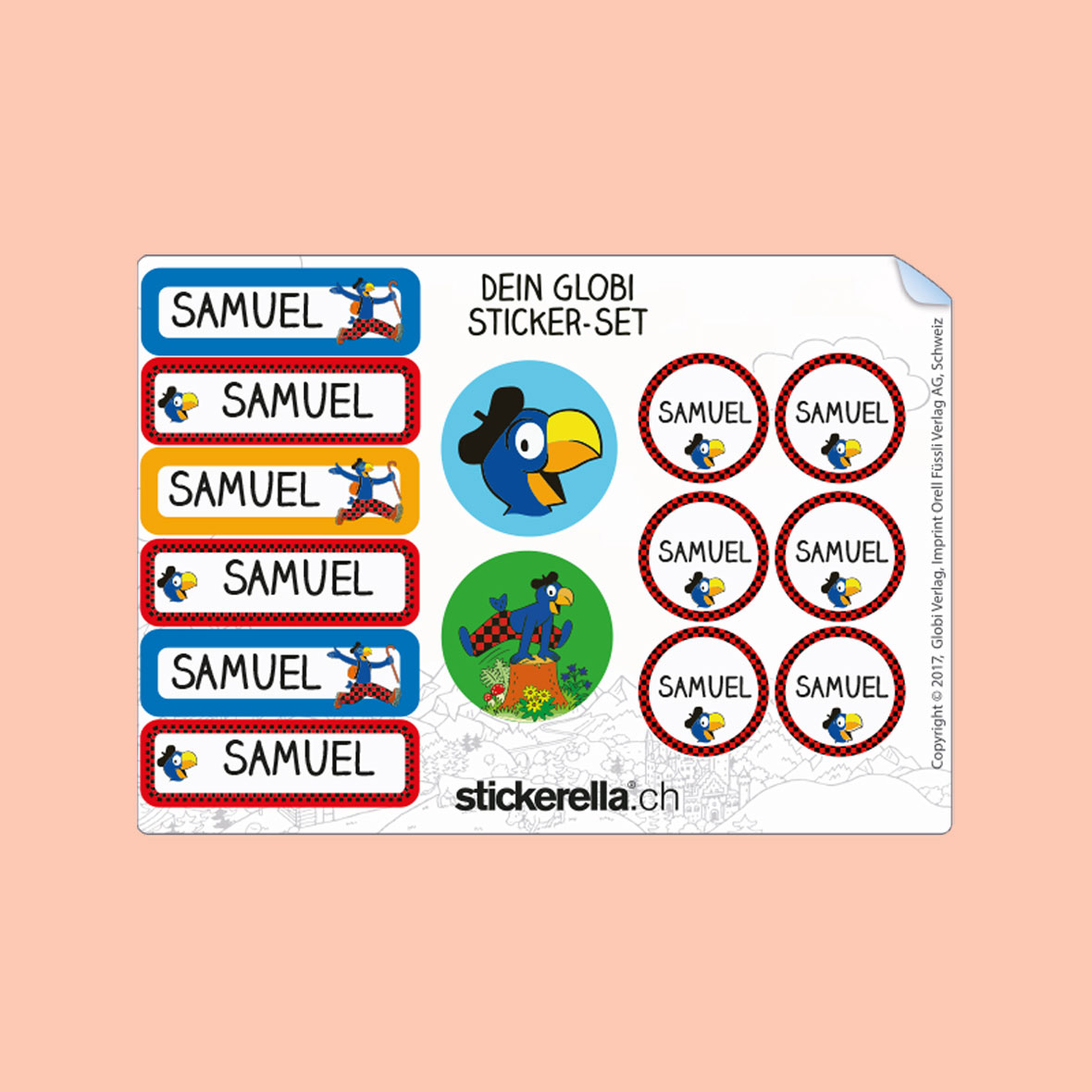 stickerella sticker set globi alpes