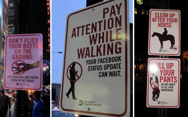 New Etiquette Rules Posted Around The City