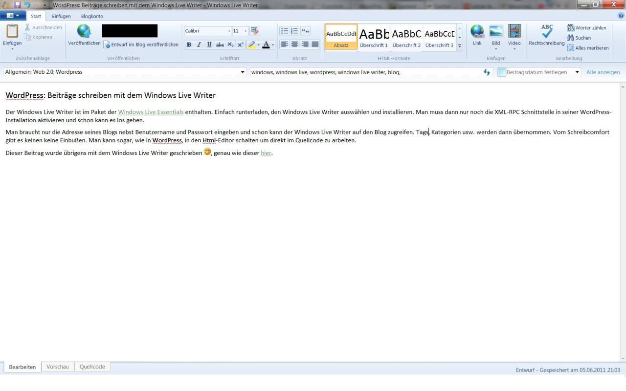WordPress: Artikel schreiben mit dem Windows Live Writer