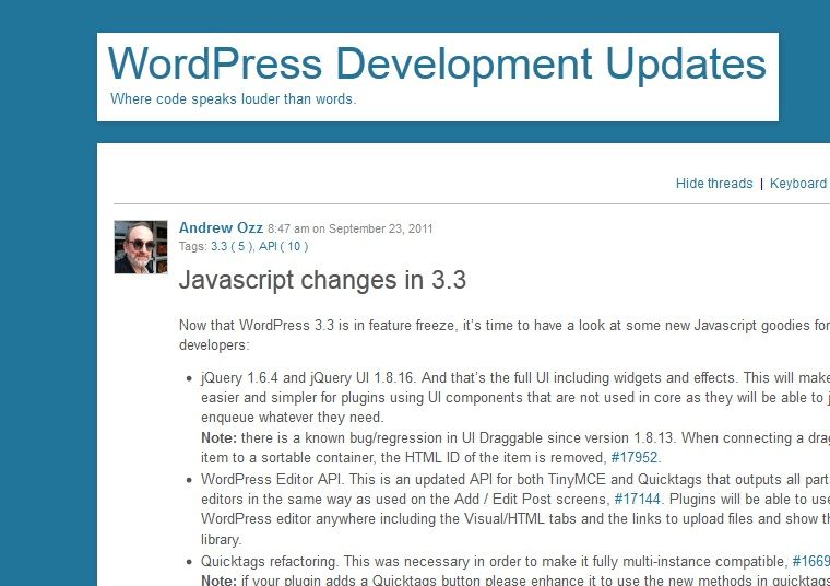Javascript Änderungen in WordPress 3.3