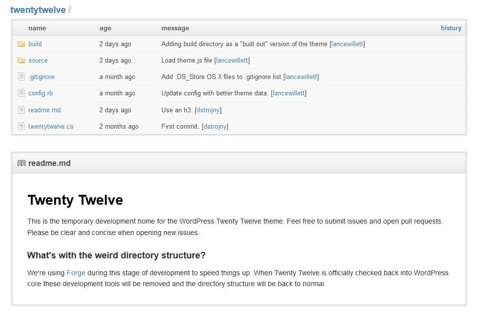 "WordPress: ""Twenty Twelve"" Theme zum Testen auf github.com"