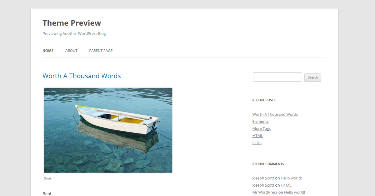 WordPress: Twenty Twelve Theme auf WordPress.org