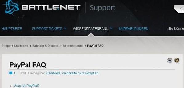 Paypal ist als Zahlungsmethode für das europäische Battle.net verfügbar