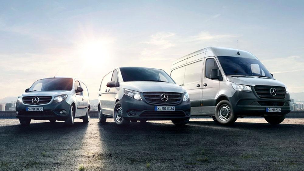 Laguppställning av Mercedes transportbilar Citan, Vito och Sprinter
