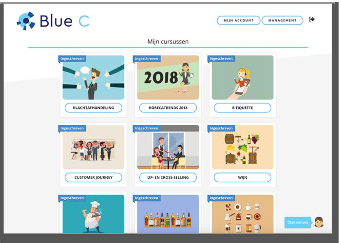 voorbeeld van cursusoverzicht van EVA van Blue C
