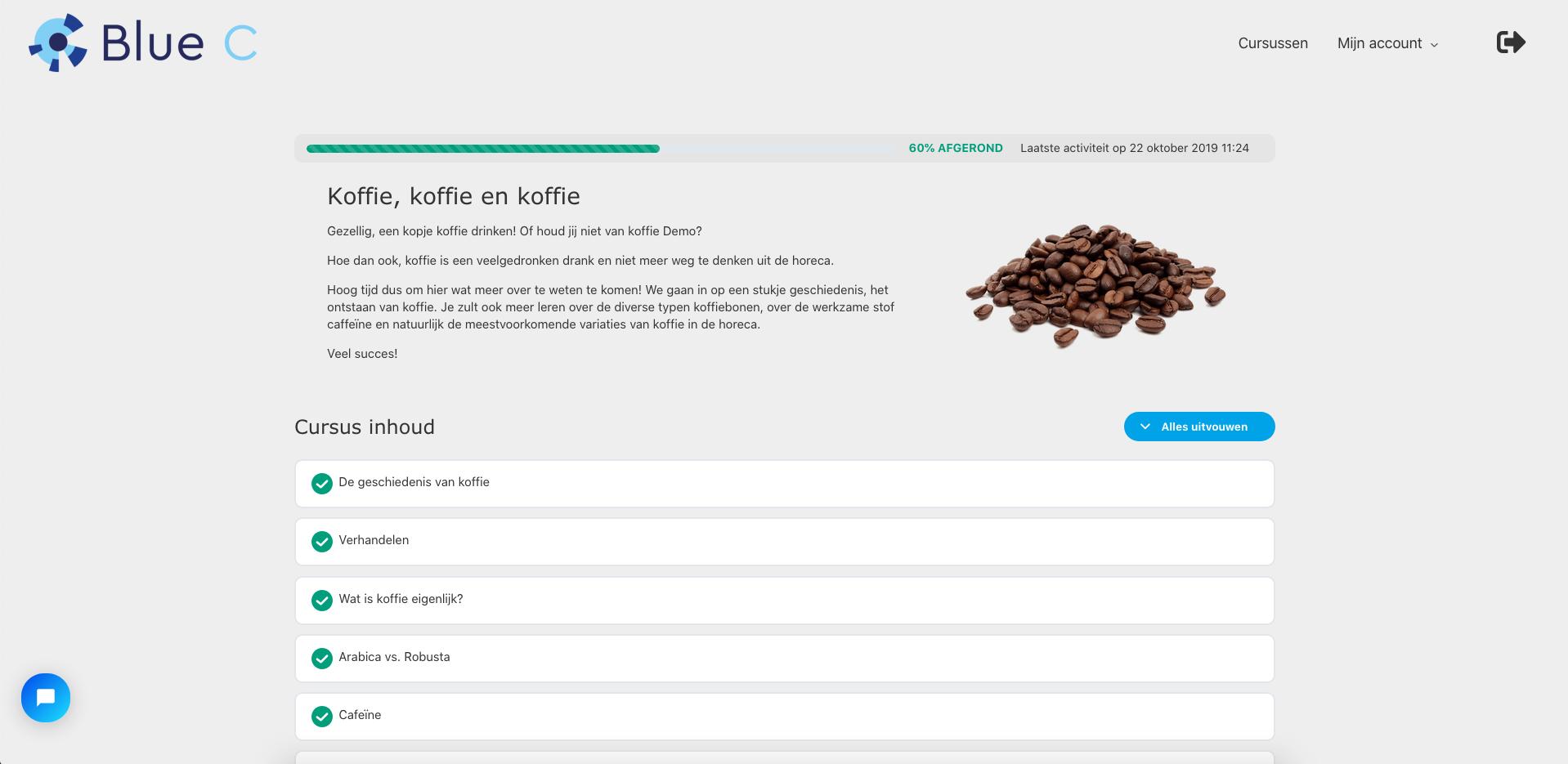 Voorbeeld van de cursus Koffie in de E-learning van Blue C