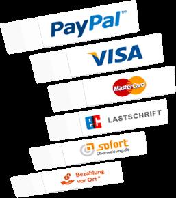 Alle gängigen Zahlungsmittel integriert! Zahlung mit Paypal, Visa und Co. möglich.