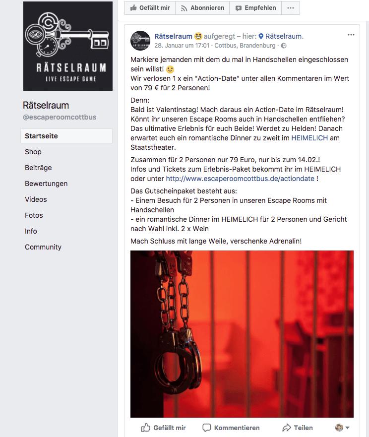 facebook post valentinstag escape room gutschein