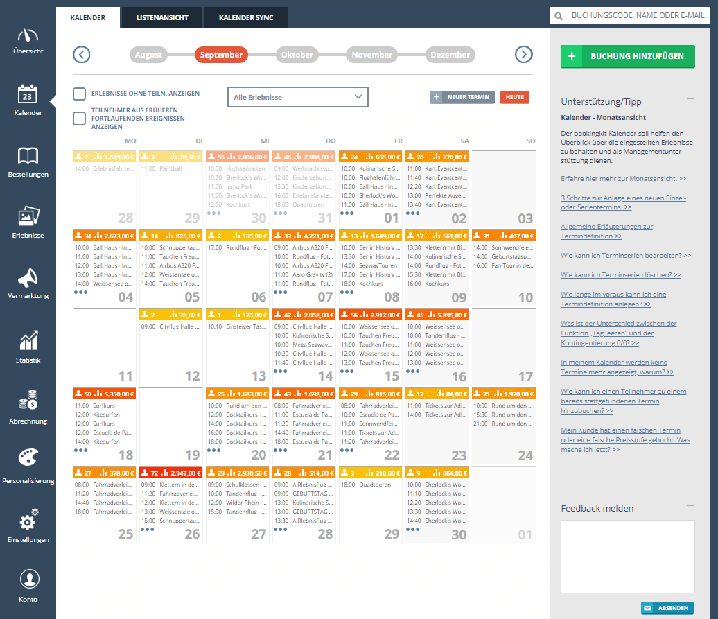 The ideal booking calendar for your homepage| bookingkit ®