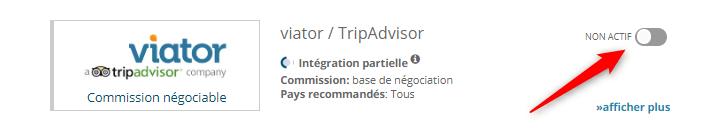 Activation de Viator sur bookingkit système de réservation