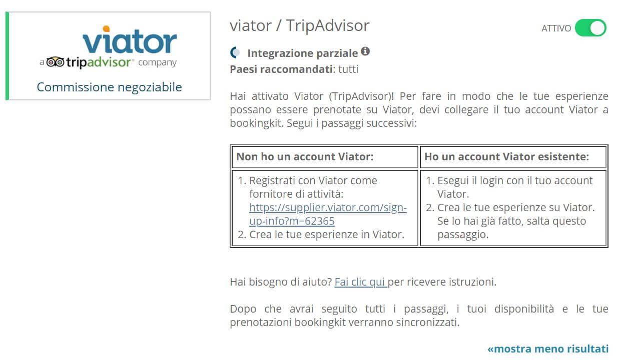 viator attivazione bookingkit