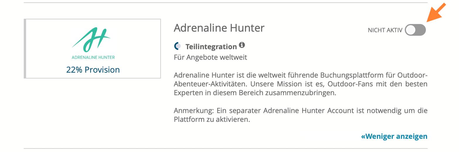bookingkit-Adrenaline-Hunter-Aktivierung