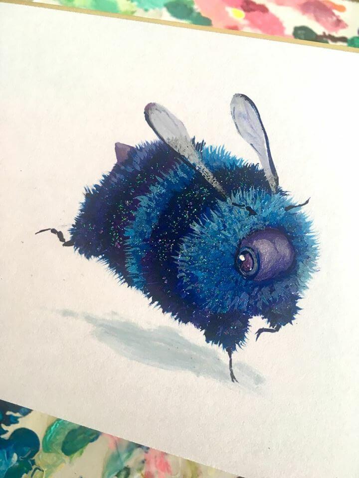 galaxy bee photo by camilladerrico dc7djie - אומנית מציירת דבורים כל כך חמודים