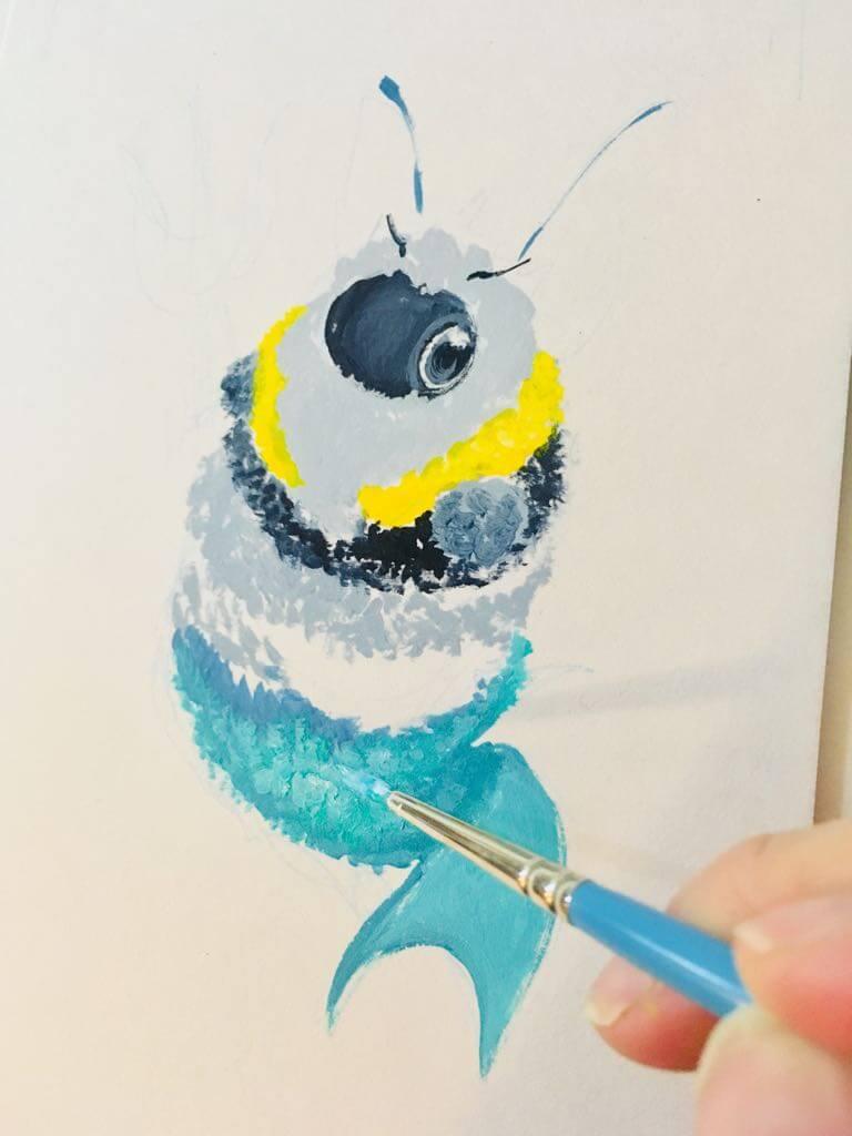 merbee wip1 by camilladerrico dccz4qd - אומנית מציירת דבורים כל כך חמודים
