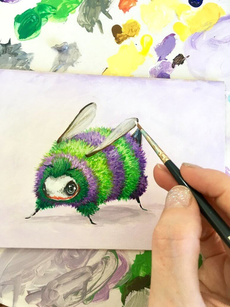 new fuzz butt  by camilladerrico dcbcrhz - אומנית מציירת דבורים כל כך חמודים