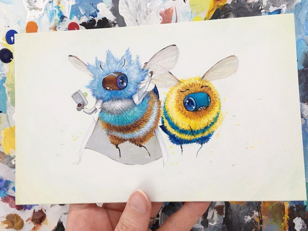 rick and mortbee by camilladerrico dcgx2vn - אומנית מציירת דבורים כל כך חמודים