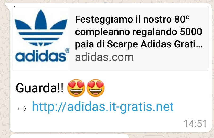 Truffa Adidas WhatsApp: niente scarpe in regalo, non
