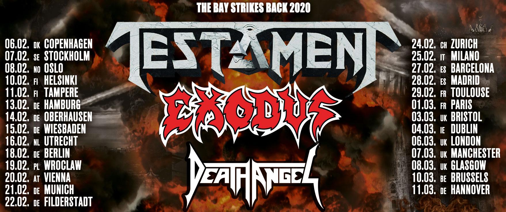 25 febbraio 2020 testament exodus death angel milano live club