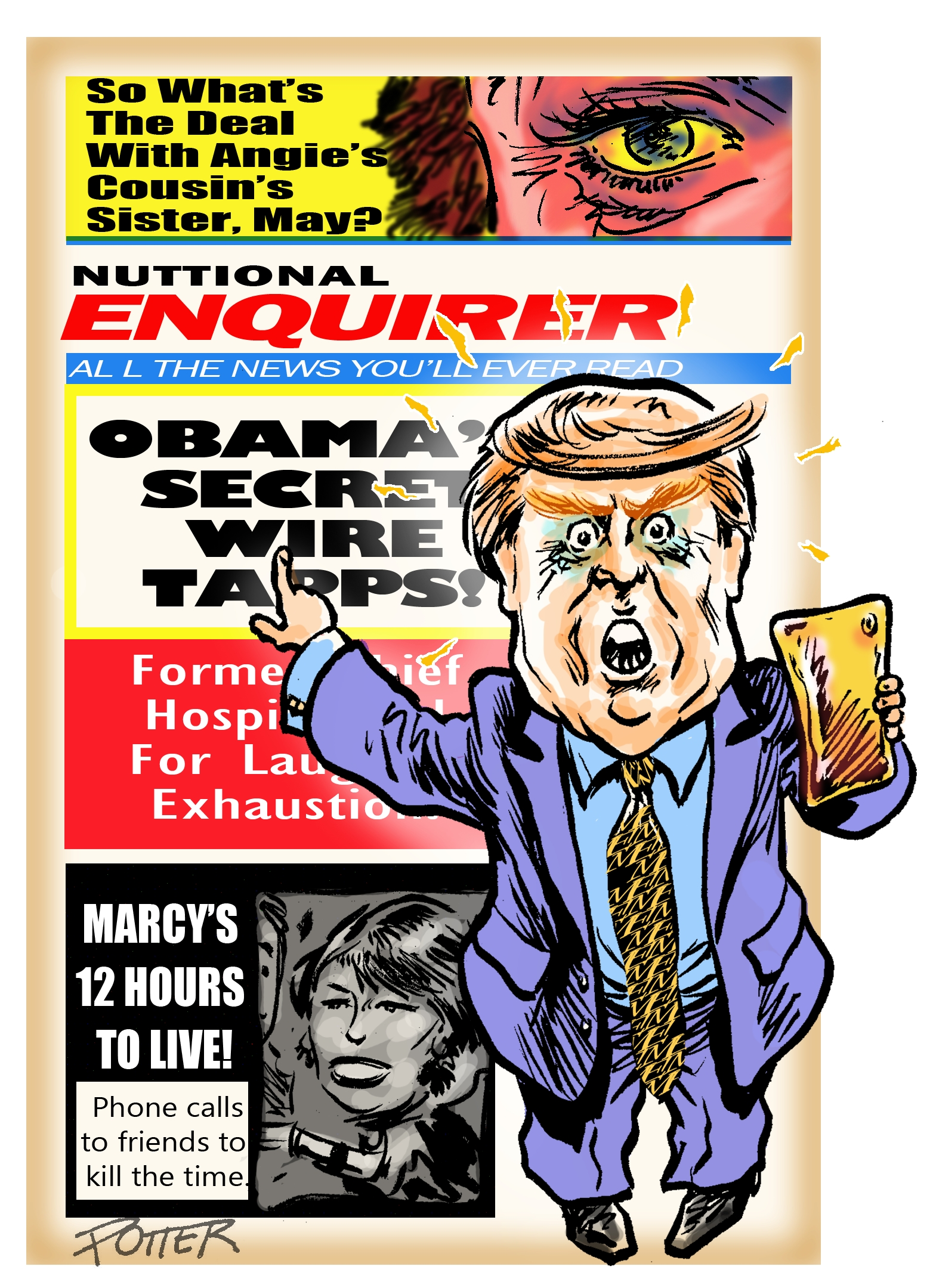 """Donald Trump and his accusations regarding barrack Obama in the """"newspaper"""" that backs him, The National Enquirer."""
