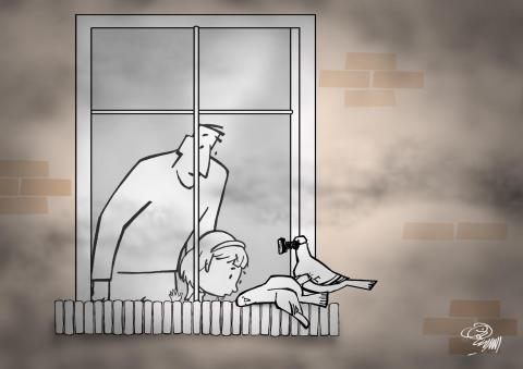 Cartoon about air pollution.