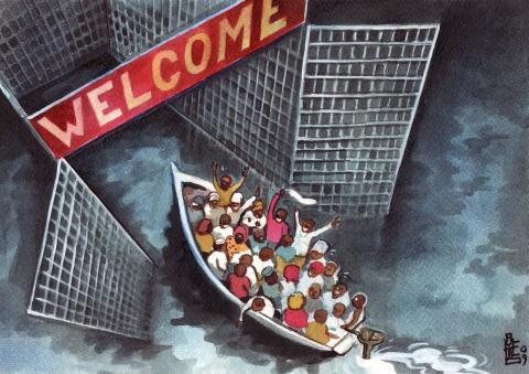 Cartoon about migrants