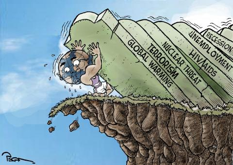 Cartoon about the world facing many problems