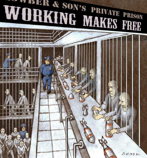 Cartoon about the privatization of prisons