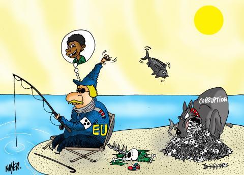 Cartoon about development aid