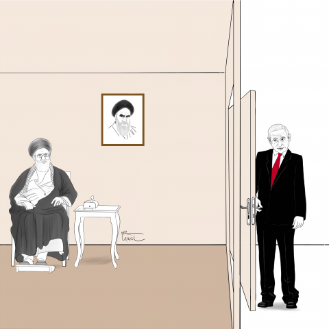 Netanyahu behind the door