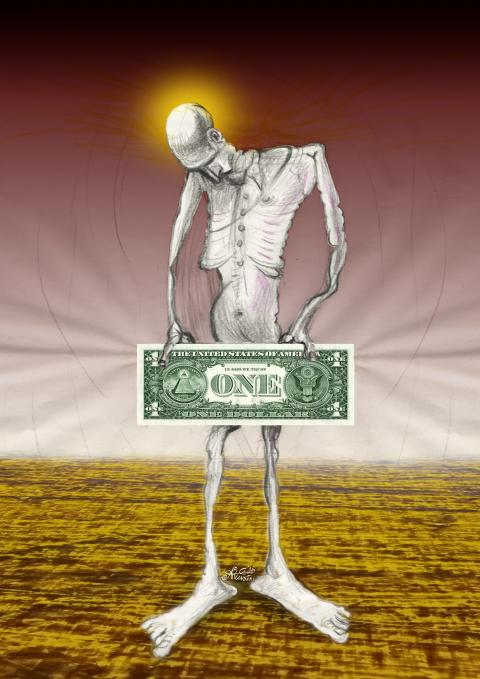 A man holding a one dollar bill in front of his body.