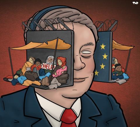 Cartoon about the EU and refugees